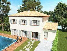 Maison à étage modèle en construction