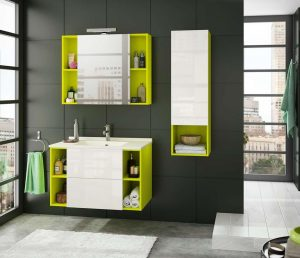 couleurs vives dans la salle de bain